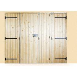 Porte à lames verticales en bois